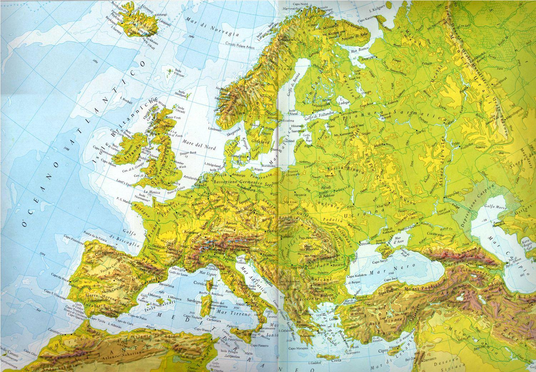 Carta europa fisica pearltrees for Mappa mondo bianco e nero