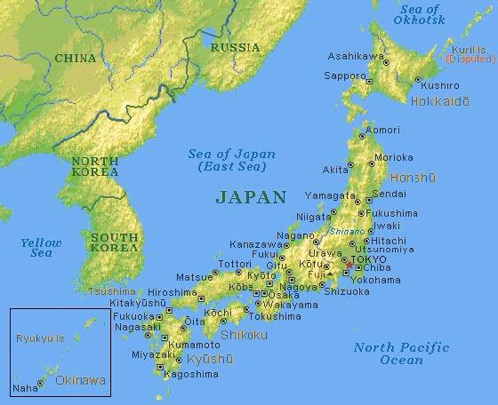 Il Giappone Cartina Fisica.Carta Fisica Giappone Pearltrees