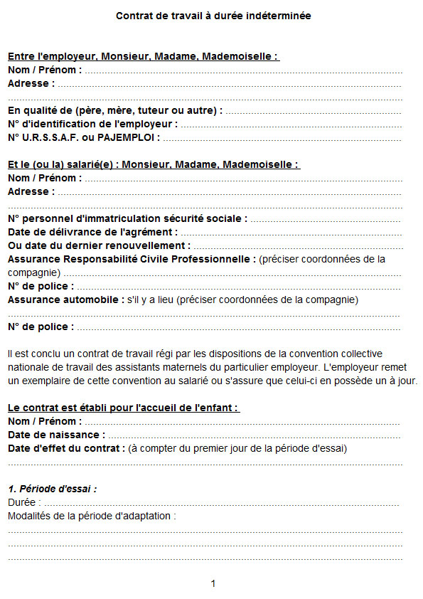 Contrat travail assistante maternelle 1 | Pearltrees