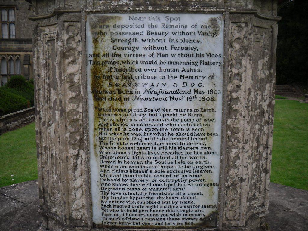 boatswain dog. epitaph to a dog - boatswain monument s