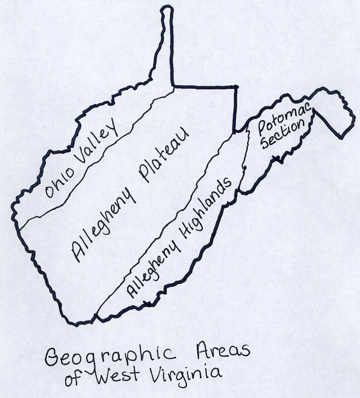 Geographic Regions Of Virginia Map.Map Of The 4 Regions Of Wv Pearltrees