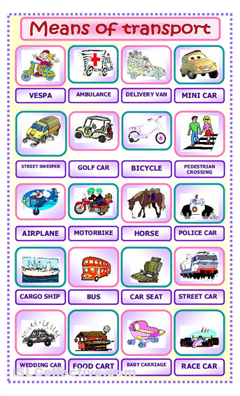 Number Names Worksheets paragraph on means of transport : Means of transport | Pearltrees